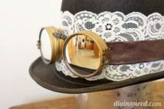 DIY Steampunk Top Hat and Goggles, made from repurposed items around the house, perfect for a Halloween costume. Steampunk Top Hat, Steampunk Crafts, Steampunk Goggles, Steampunk Wedding, Steampunk Fashion, Victorian Fashion, Steampunk Design, Steampunk Pirate, Victorian Steampunk