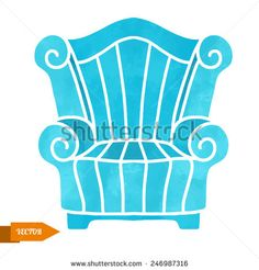Watercolor vector modern furniture, armchair closeup isolated on a white background.   - stock vector