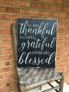 Thanksgiving-- Thankful Grateful Blessed thankful sign grateful by WoodfairySigns