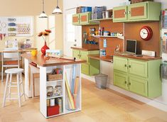 This clever space provides a place for the whole family to gather and work on projects together. Plus, abundant storage options keep supplies from cluttering your house. Woodworking Apron, Woodworking Projects Plans, Teds Woodworking, Woodsmith Plans, Modern Home Offices, Desk Plans, Family Crafts, Sewing Rooms, Space Crafts