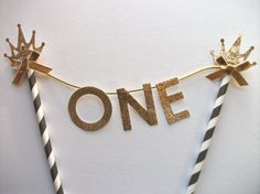 Black gold glitter number one cake topper 1st by LondonSparkle