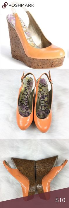 Sam Edelman Cork Wedges Sam Edelman Mallory peachy orange patent leather sling back wedges. Size 8 1/2. Used condition with light stains on both shoes on the patent leather. Still have lots of life left even though they aren't in perfect condition. No box included. PLEASE NOTE STAINING!   ❌No trades ❌ Modeling ❌No PayPal or off Posh transactions ❤️ I 💕Bundles ❤️Reasonable Offers PLEASE ❤️ Sam Edelman Shoes Wedges