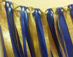 Little Prince Royal Blue Gold Ribbon Garland Gorgeous Glitter Gold Ribbon Perfect for baby shower or 1st birthday party decor. Hang anywhere! Backdrop or use for photos!: