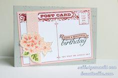Postcard birthday blossom retired host set Stampin' Up!