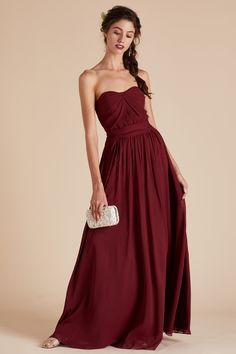 Gracie Convertible Bridesmaid Dress in Chiffon burgundy by Birdy Grey. Under   100 Burgundy Gown 6a490e942518