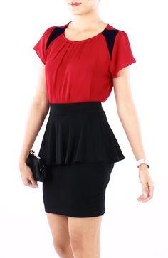 Classic Black Jersey Peplum Skirt - RM49