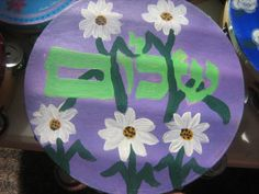 Flower peace Lilac Tambourine 10' inch Shalom in by rivkasari, $55.00