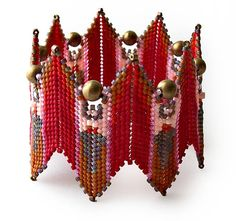 Fire Goddess Bangle by Debra of DatzKatz Designs - inspired by Contemporary Geometric Beadwork by Kate McKinnon