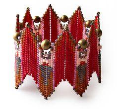 Fire Goddess Bangle by Debra of DatzKatz Designs - inspired by Contemporary Geometric Beadwork by Kate McKinnon