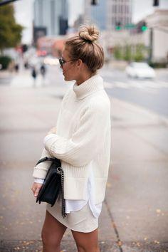 White Knit + Chanel Boy Bag