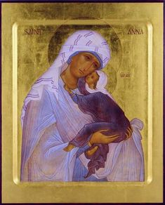 Saint Anna & the Theotokos Byzantine Icons, Byzantine Art, Religious Icons, Religious Art, Saint Joachim, Hail Holy Queen, Angel Images, St Anne, Madonna And Child