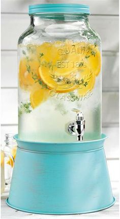 Glass Mason Jar Drink Dispenser with Turquoise Blue Metal Ice Bucket. Converts into Pedestal. $69.99