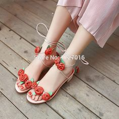 59.50$  Watch now - http://alisxo.worldwells.pw/go.php?t=32787783100 - New Women Leather Sandals Gladiator Ankle Strap Beach Summer Shoes Woman Flower Huarache Fashion Sapatos Femininos Sandalias 59.50$