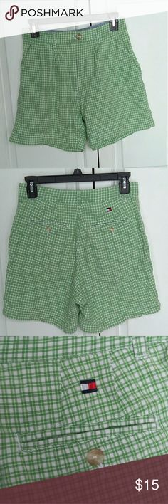 Tommy Hilfiger shorts. Green apple and white checkered shorts. Tommy Hilfiger high waisted shorts. Mint condition never been worn. Tommy Hilfiger Shorts