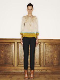 Rützou silk blouse in colour blocking aquamarine and acetate rayon pants in  black Black Linen Pants 9774104bd