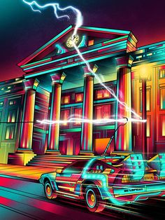 Hill Valley - Van Orton Design - Poster im Holzrahmen Marty Mcfly, One Point Perspective, Bttf, Ready Player One, Retro Waves, Michael J, Back To The Future, Cultura Pop, Turin