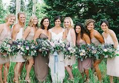 The bridesmaids wore different dresses in neutral shades like champagne, blush, light tan, and some had gold accents (complete with semi-cascading bouquet arrangements packed with succulents, butterfly bush sprigs, eucalyptus, and garden roses) | See more of this beautiful #BridesRealWedding by clicking the link in profile : @andybarnhart : @princeali87 : @clairepettibone ⛰: @steamboatresort