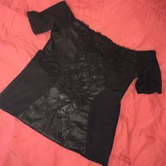 Bodycon dress Lace, Pleather, Spandex, Off shoulder-Black Bodycon Dress! Runs small Dresses Mini