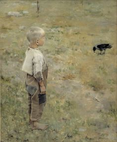 by Akseli Gallen-Kallela (26 April 1865 – 7 March 1931)'Boy and Crow',1884