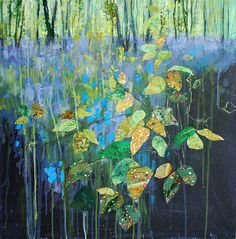 ANNA PERLIN, Brambles and Bluebells, mixed media including collage, 50x50cm. Vote for your favourite artwork from our 50 shortlisted Artists of the Year > http://www.artistsandillustrators.co.uk/shortlist2017 #AOTY2017