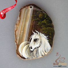 HAND PAINTED HORSE ANIMAL AGATE SLICE GEMSTONE NECKLACE PENDANT ZL80 19808 #ZL #PENDANT