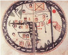 MAPPA MUNDI in BEATUS SUPER APOCALYPSIM. Navarra (?), 1086, manoscritto, inchiostro e colori su pergamena, 30 X 38 cm,. Burgo de Osma, Archivio de la Catedral, Cod. 1, fol. 34v-35. Facsimile. (Barber 2001, p.65)