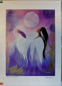 $29.99 Native Spiritual Art Print-December Moon by Wabimeguil (Betty Albert-Lincez)