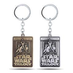 Star Wars Trilogy Litery Brelok Breloki 2 Kolory W Stylu Vintage Plac 6*4 cm Stopu Cynku Breloczek dla Ojca Dzień Dziecka Prezent JJ10972