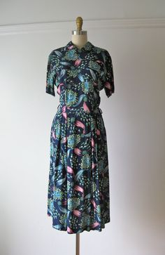 vintage 1940s dress / 40s dress / Blooms and Bows by Dronning