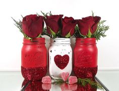 Glitter Mason Jars Valentines Day Decor by curiouscarrie on Etsy