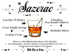 The Sazerac Cocktail - a taste of New Orleans. From the Bit By a Fox Blog. #MardiGras