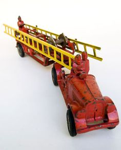Antique Cast Iron Fire Truck Original Red Paint Hubley For Sale