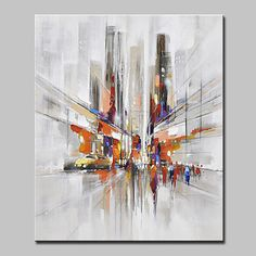 Hand+Painted+Modern+Abstract+City+Streets+Oil+Painting+On+Canvas+Wall+Art+Pictur. City Painting, Oil Painting Abstract, Abstract Wall Art, Canvas Wall Art, Modern Abstract Art, Abstract City, Abstract Landscape, City Landscape, Industrial Wall Art
