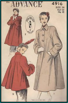 Advance 4916-1948  Vintage Sewing Patterns  Advance 1940s Coats Jackets Swing Coats Buttonhole Pockets Pockets Squared Armholes Turned-Back Cuffs Pointed Collar Long Sleeves Swing Jackets