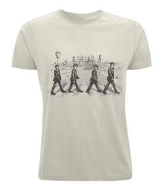 """""""The Baskervilles""""  Baskervilles Hound presents 'The Baskervilles  Make your wardrobe more holmely with our 'The Baskervilles exclusive and limited edition t-shirt. The Baskervilles is a beautiful parody of the infamous abbey road album cover by the beetles. So join Watson,Holmes,The Hound and Sir Herny Baskervilles for a walk through Dartmoor.  Hats off to our Baker Street Irregulars for this design!  What will you choose The Adventure of Naval Treaty or something else  Each of our designs…"""