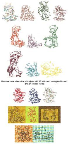 Embroidery Designs   Free Machine Embroidery Designs   JuJu Autumn Sunbonnets Redwork
