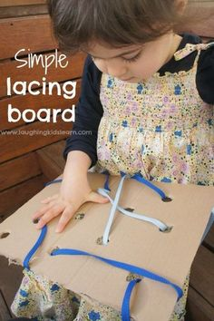 This simple lacing board for kids is an easy homemade toy that will help develop a child's fine motor skills and more. Used out of cardboard and simple materials your toddler or preschooler will have lots of fun creating different patterns and more. #fin Motor Skills Activities, Infant Activities, Fine Motor Skills, Preschool Activities, Toddler Play, Toddler Preschool, Homemade Toys, Homemade Cookies, In Kindergarten