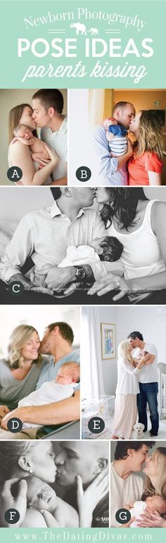 Precious Newborn Photography Pose Ideas with Parents Kissing