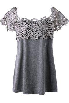 Plus Size Lace Trim Cutwork T-shirt