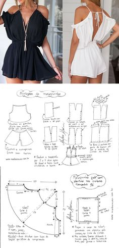 Dress Sewing Patterns, Doll Clothes Patterns, Clothing Patterns, Como Fazer Short, African Dresses For Kids, Diy Fashion Hacks, Jumpsuit Pattern, Diy Clothing, Fashion Sewing