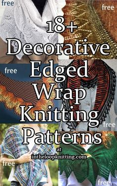Knitting Patterns for Decorative Edged Shawls and Scarves. Most patterns are free.