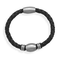 Black Leather Bracelet with 3 Stainless Steel Beads W2094   I Love Bracelets