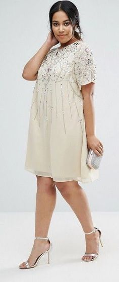 Plus Size Embellished Swing Dress