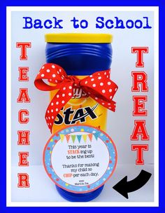 Back to School Teacher Treat with FREE printable. From Marci Coombs' Blog.