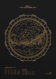 Affiche The Southern Sky Noir & Or - Map II - Stellavie - Visuel 1