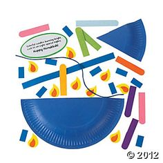 Paper Plate Menorah Craft - this is a kit but the reviews are terrible. Make our own with foam and a blue paper plate?