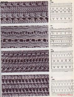 CROCHET - Lovely Feminine Wide Boarder Lattice Stitch Pattern (Asian Pattern, Found on Russian Website (allmyhobby. Crochet Stitches Chart, Crochet Motifs, Crochet Diagram, Diy Crochet, Knitting Stitches, Knitting Patterns Free, Stitch Patterns, Crochet Patterns, Knitting Ideas