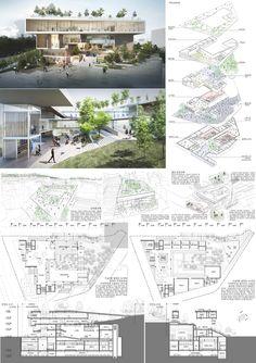 설계도판3 ©운생동건축사사무소(주) University Architecture, Library Architecture, Architecture Concept Drawings, Architecture Panel, Sustainable Architecture, Architecture Details, Architecture Presentation Board, Presentation Boards, Mall Facade