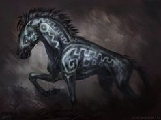 Dark Steed by Exileden magic steed glowing tatoos mount horse monster beast creature animal   Create your own roleplaying game material w/ RPG Bard: www.rpgbard.com   Writing inspiration for Dungeons and Dragons DND D&D Pathfinder PFRPG Warhammer 40k Star Wars Shadowrun Call of Cthulhu Lord of the Rings LoTR + d20 fantasy science fiction scifi horror design   Not Trusty Sword art: click artwork for source