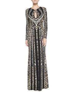Long-Sleeve Leopard-Stripe Deco Gown by Roberto Cavalli at Bergdorf Goodman.